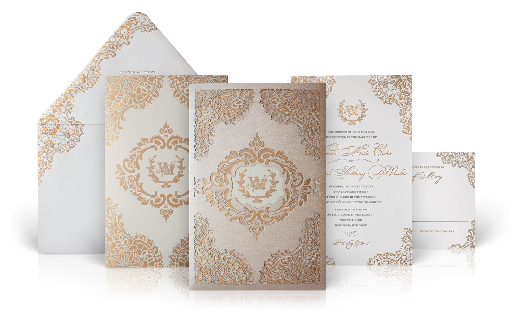 Ornate gold lace wedding invitation