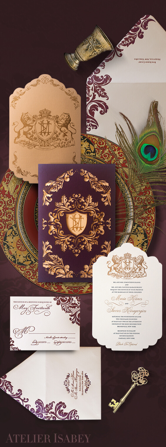 Ornate laser cut invitation with scrollwork