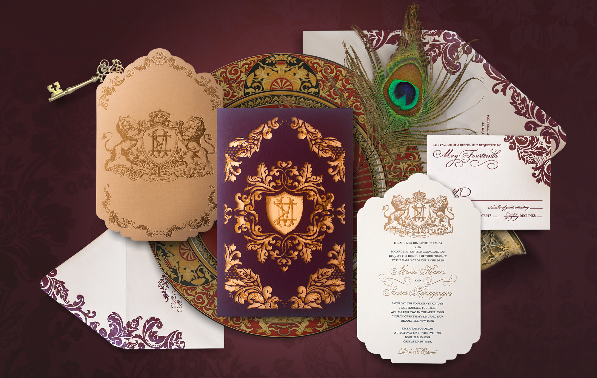 Ornate flourish laser cut wedding invitation