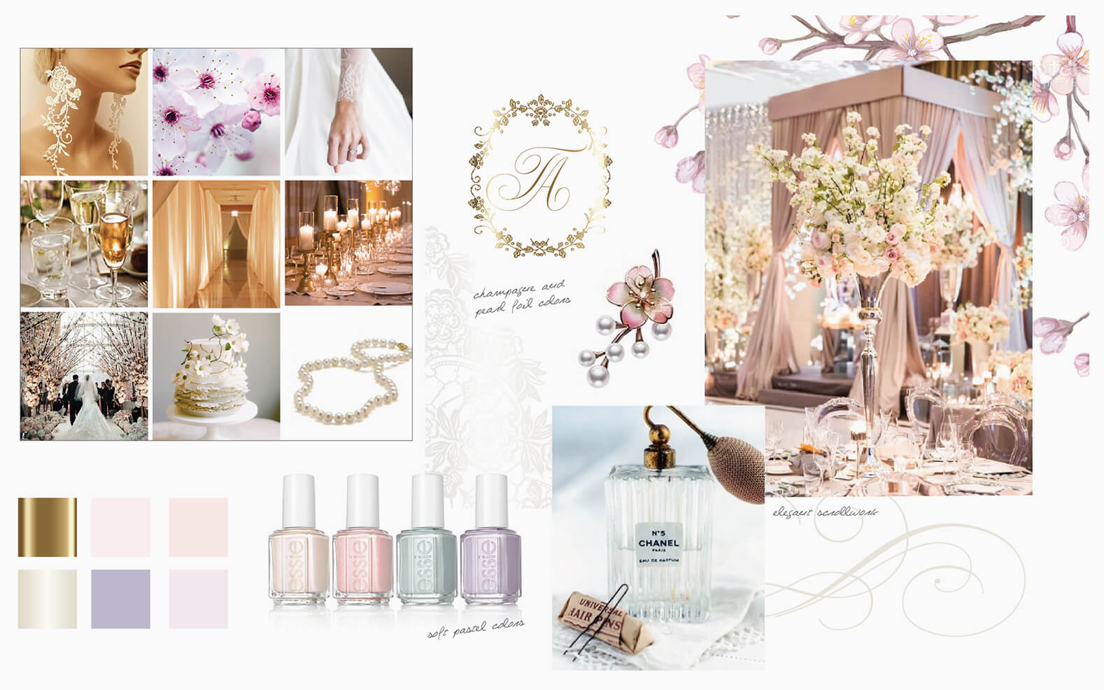 Pastel colors and cherry blossom moodboard