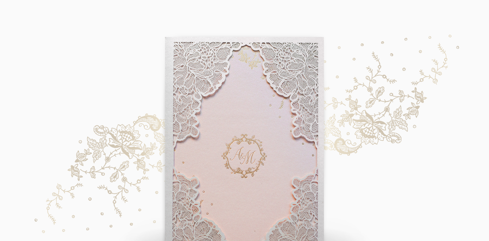 Blush and gold lace invitation