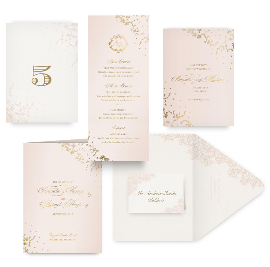 Gold lace save the date, menu, program and wedding accessories