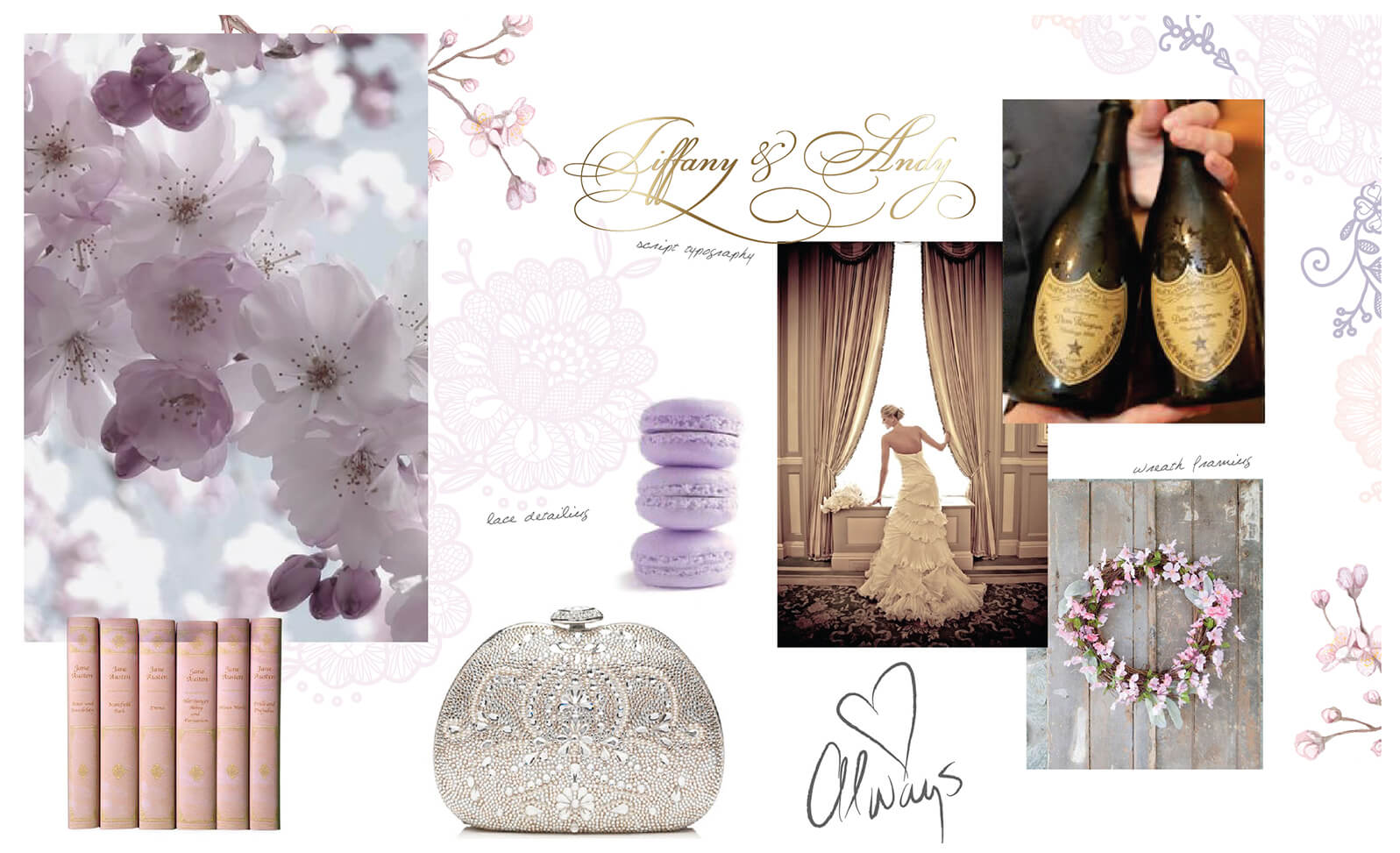 Delicate romantic details and plum blossom florals