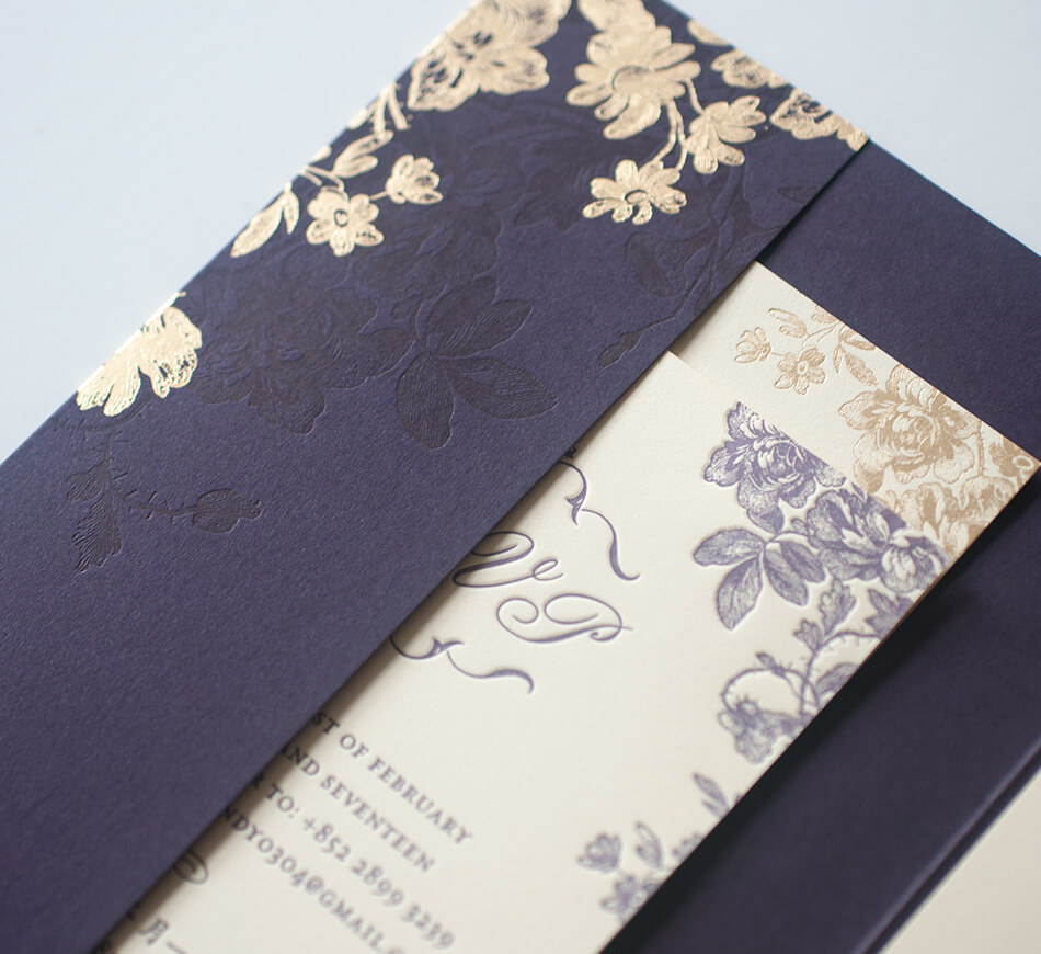 Purple pocket with gold foil flowers