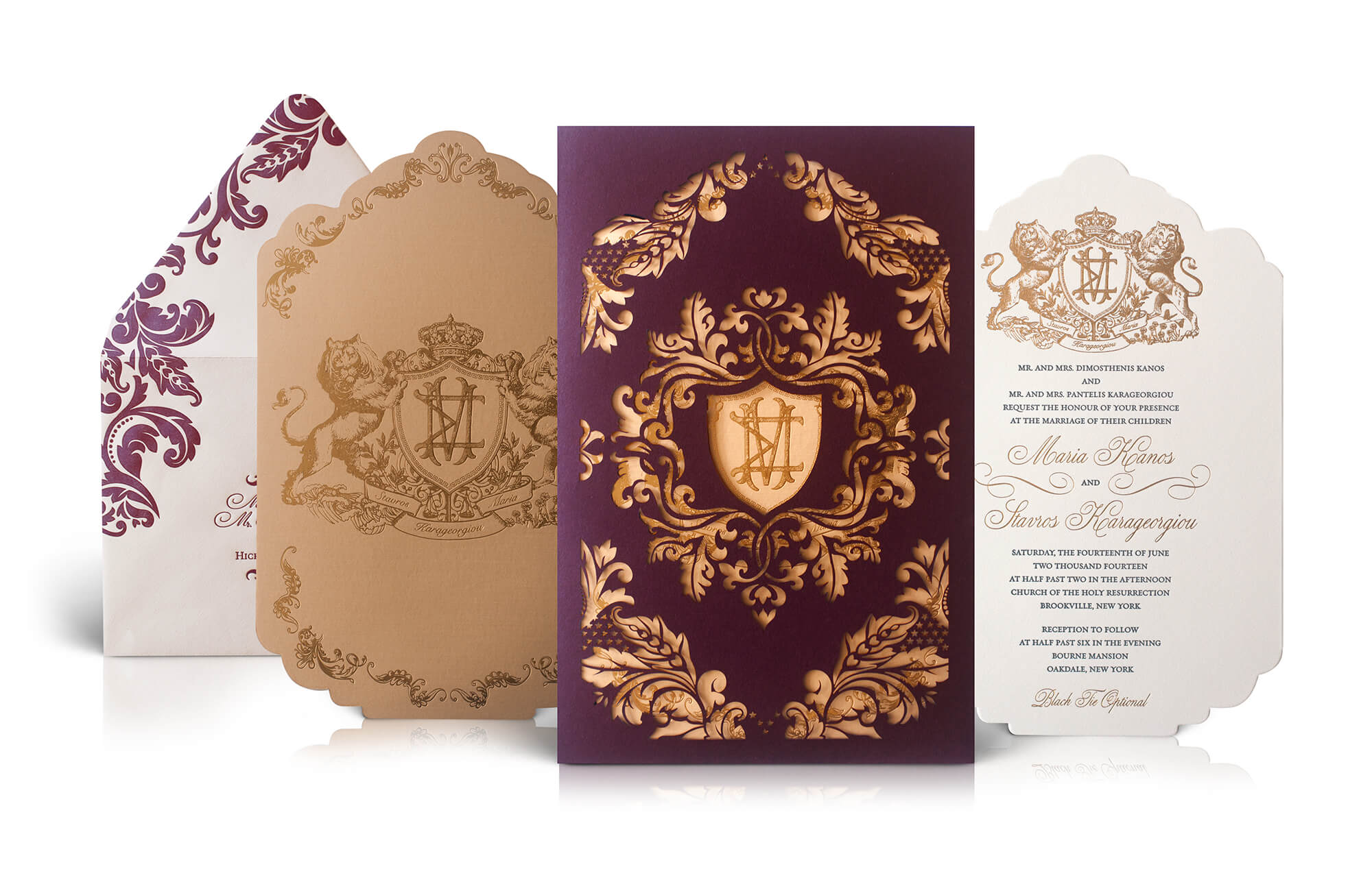 Ornate crest gold and burgundy wedding invitation