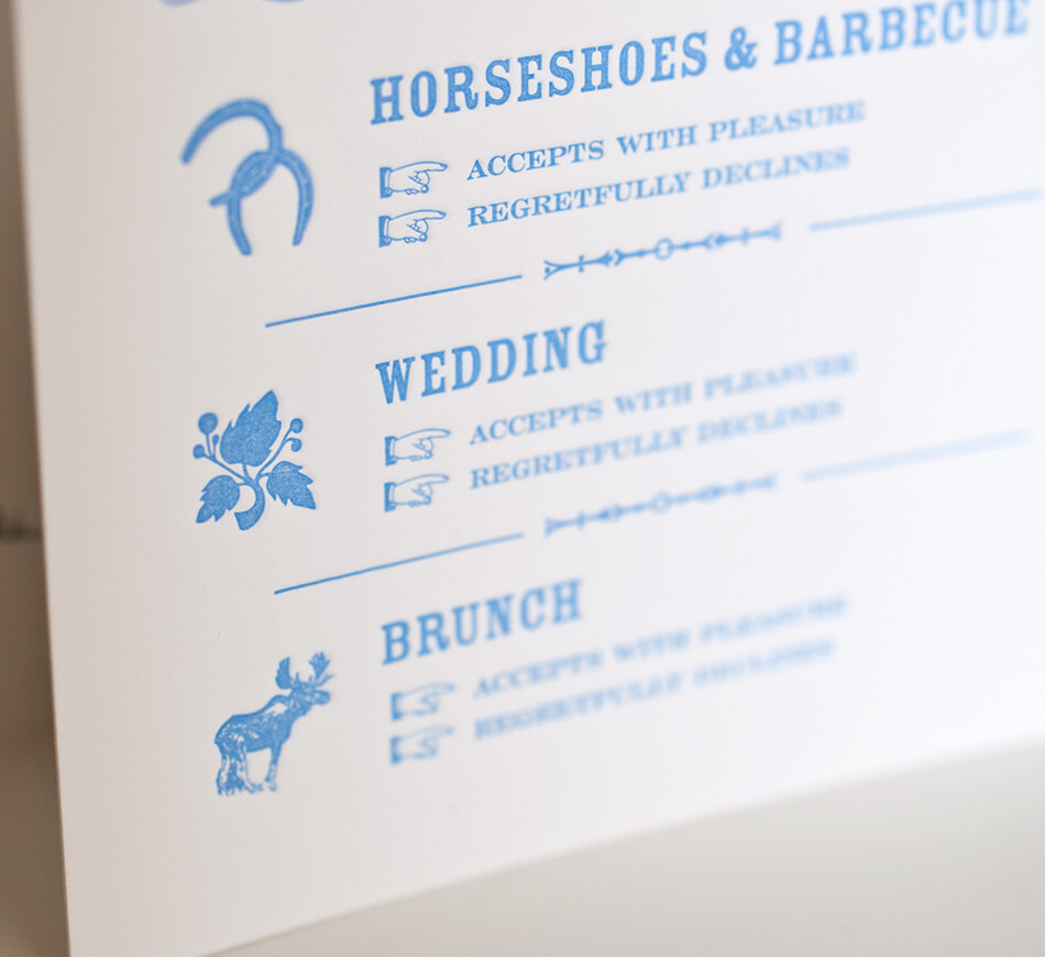 Rustic illustrations on an events card