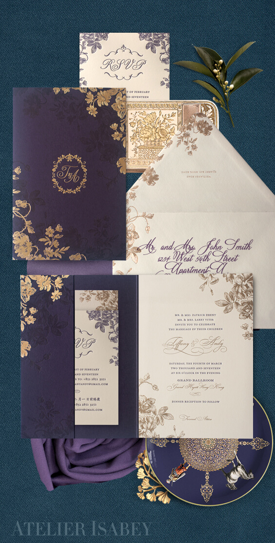 Purple and gold floral wedding invitation
