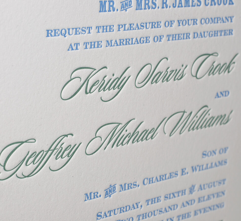 Letterpress invitation typography