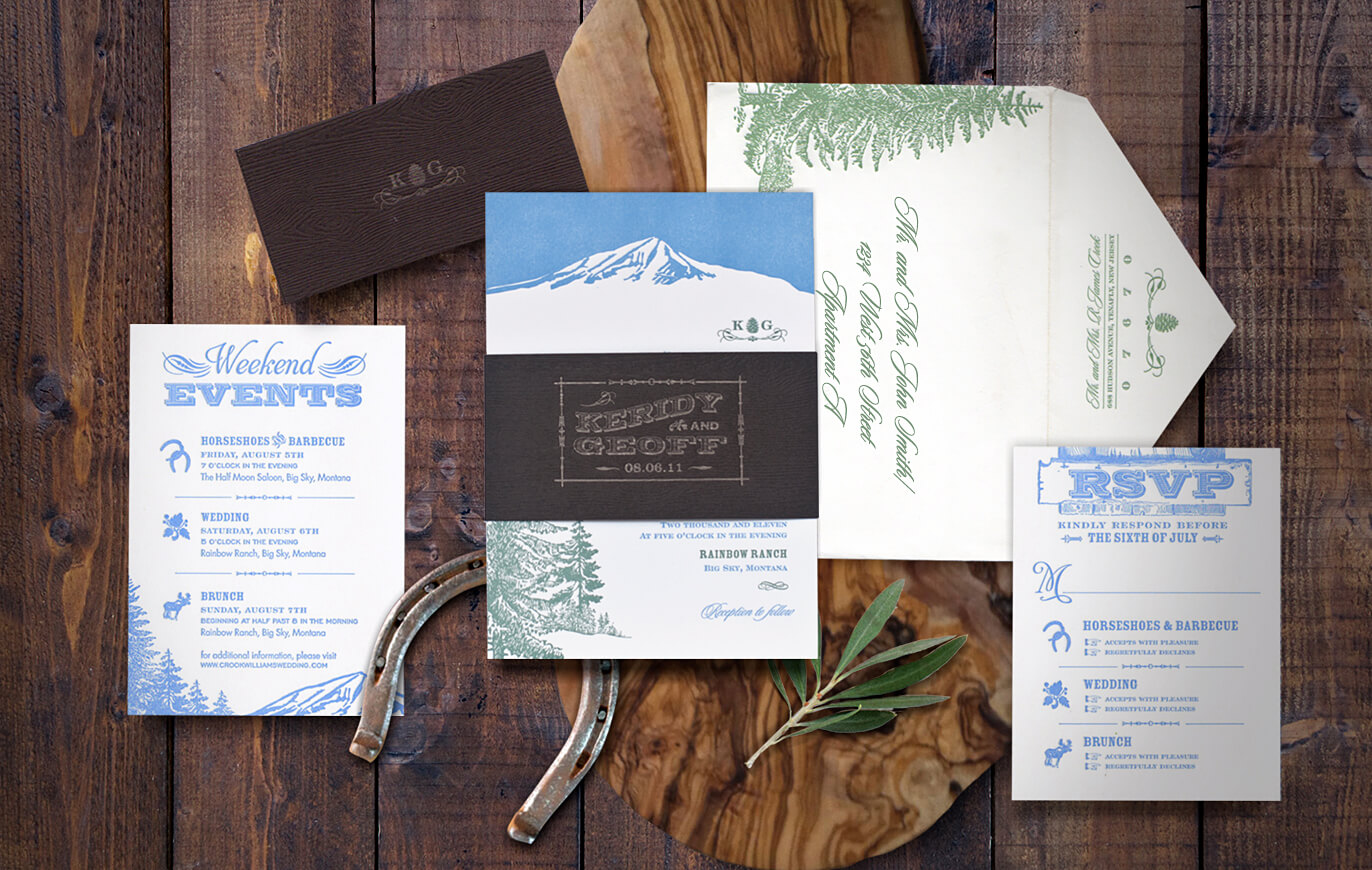 Rustic and elegant ranch wedding invitation