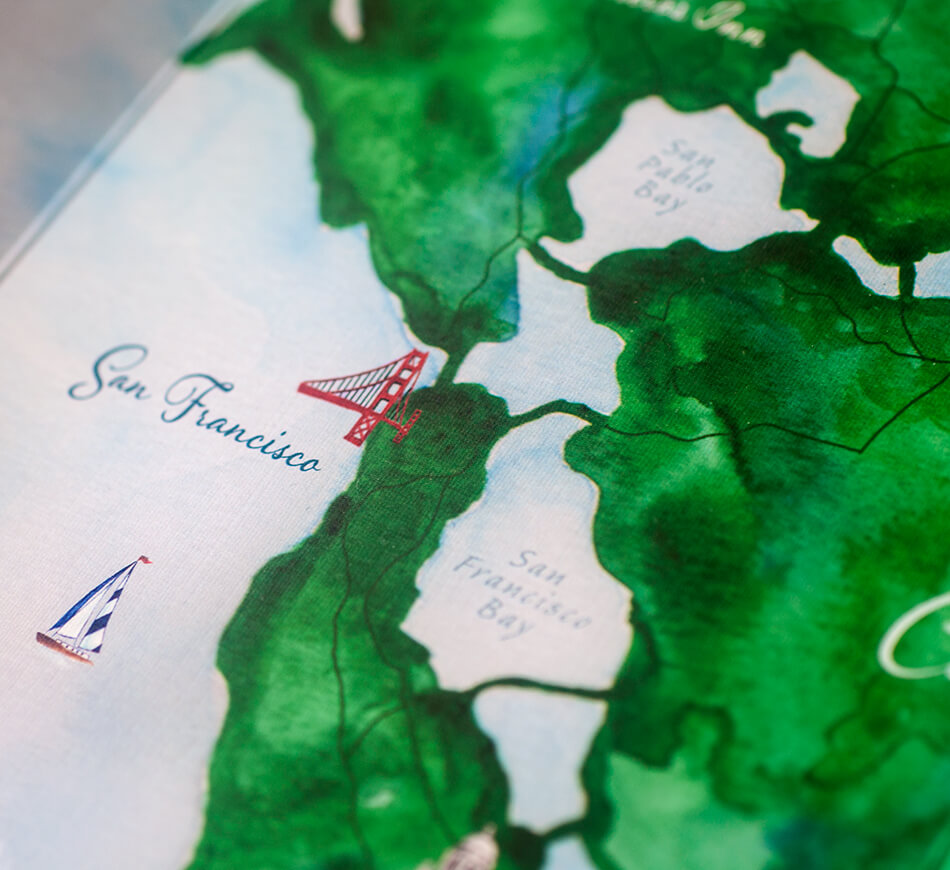 San Francisco Bay watercolor map detail