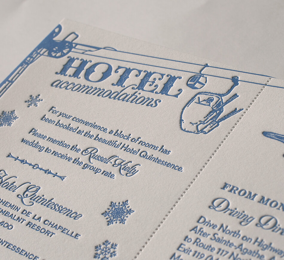 Ski lodge wedding enclosure card