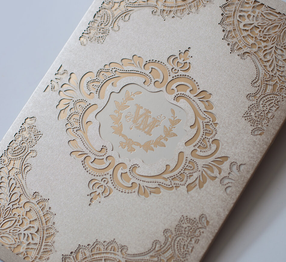 Vintage gold lace laser cutting