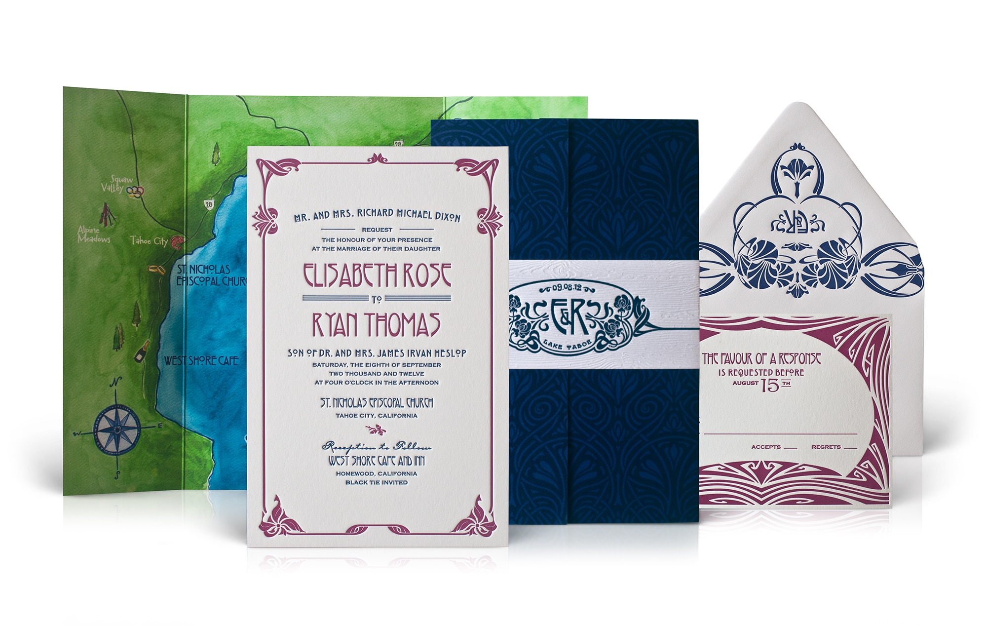Blue and red vintage letterpress wedding invitation