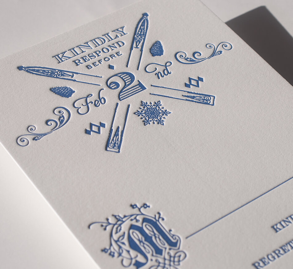 Reply card with crossed skis and winter illustrations