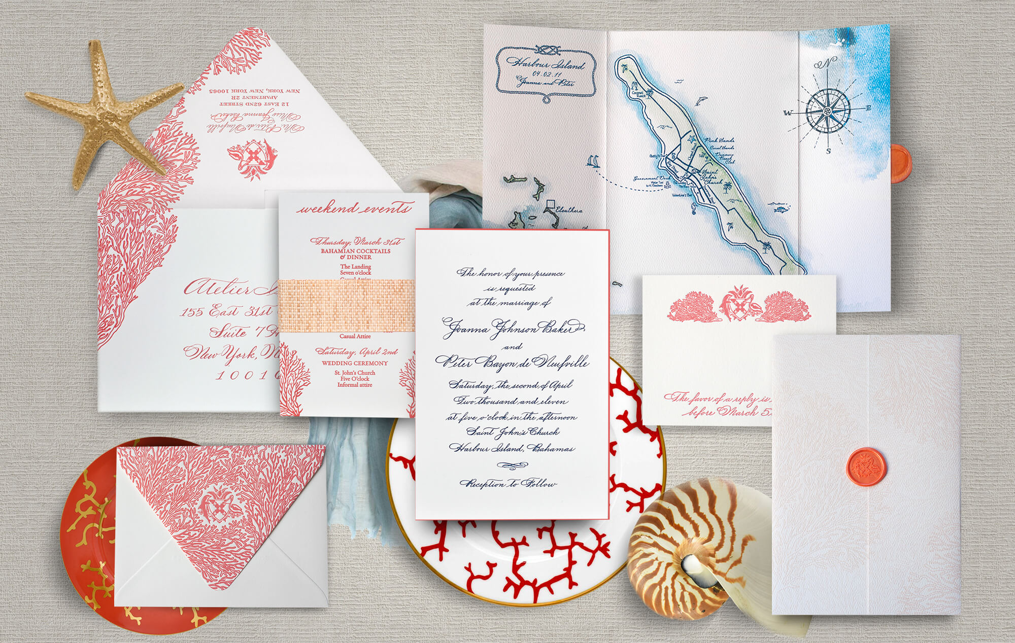 Bahamas watercolor and coral wedding invitation