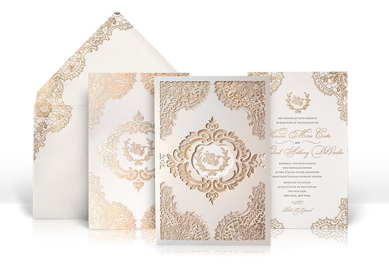 Gold and champagne lace wedding invitation