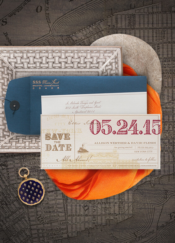 Ellis Island inspired save the date