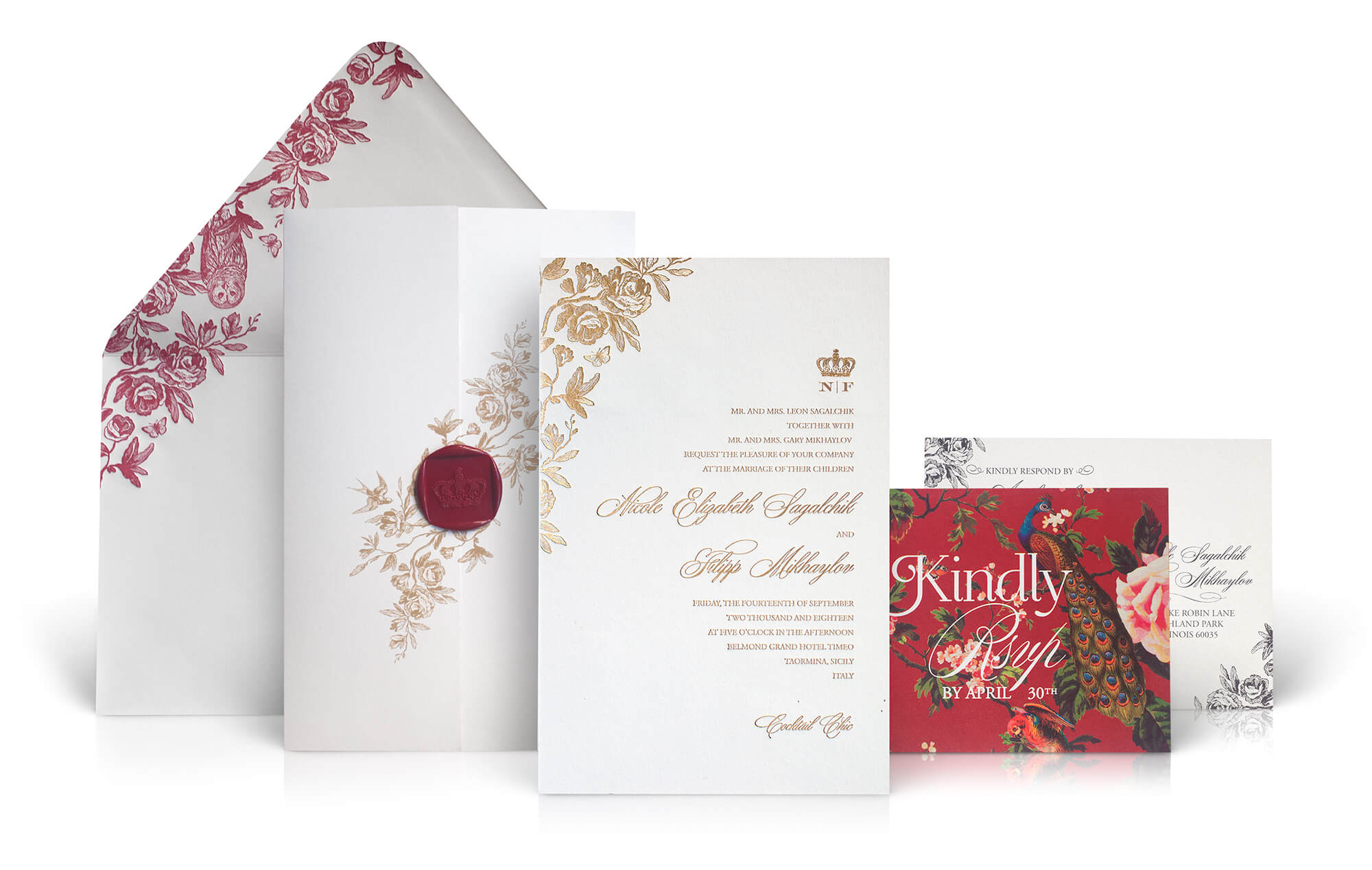 Taormina Sicily wedding invitation