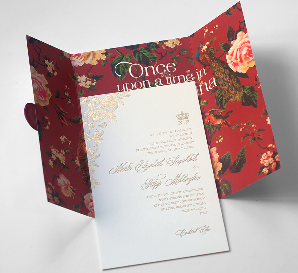 Invitation and floral pattern wrap