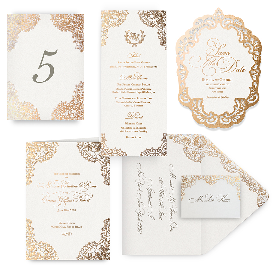 Gold lace menu, program, place card and wedding accessories