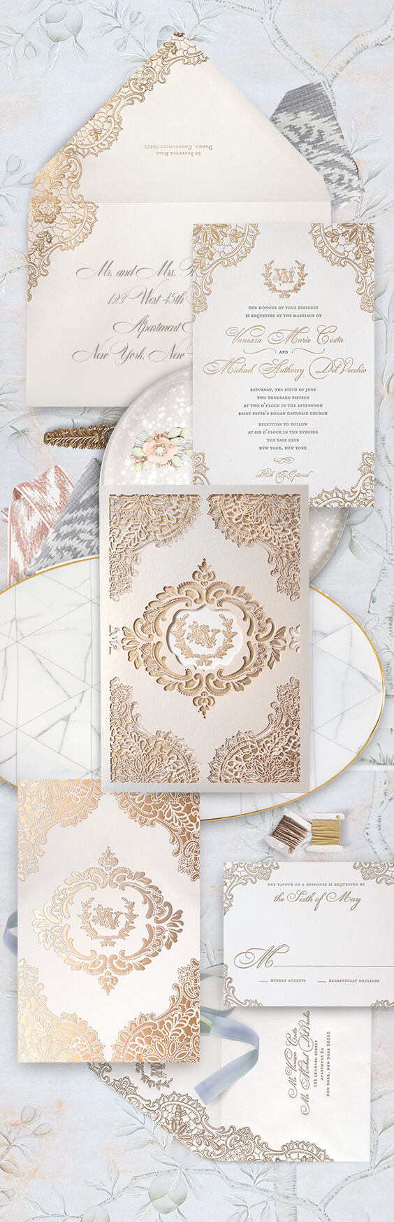 Gold lace laser cut wedding invitation with champagne foil | By Atelier Isabey