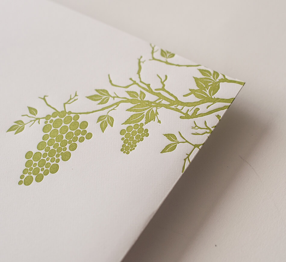 Green letterpress grapes and grapevines