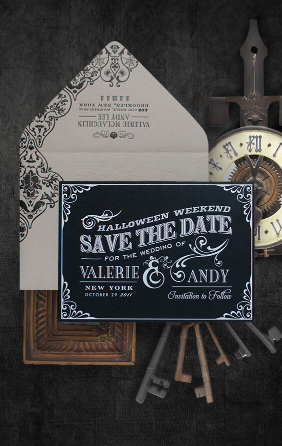 Halloween inspired save the date