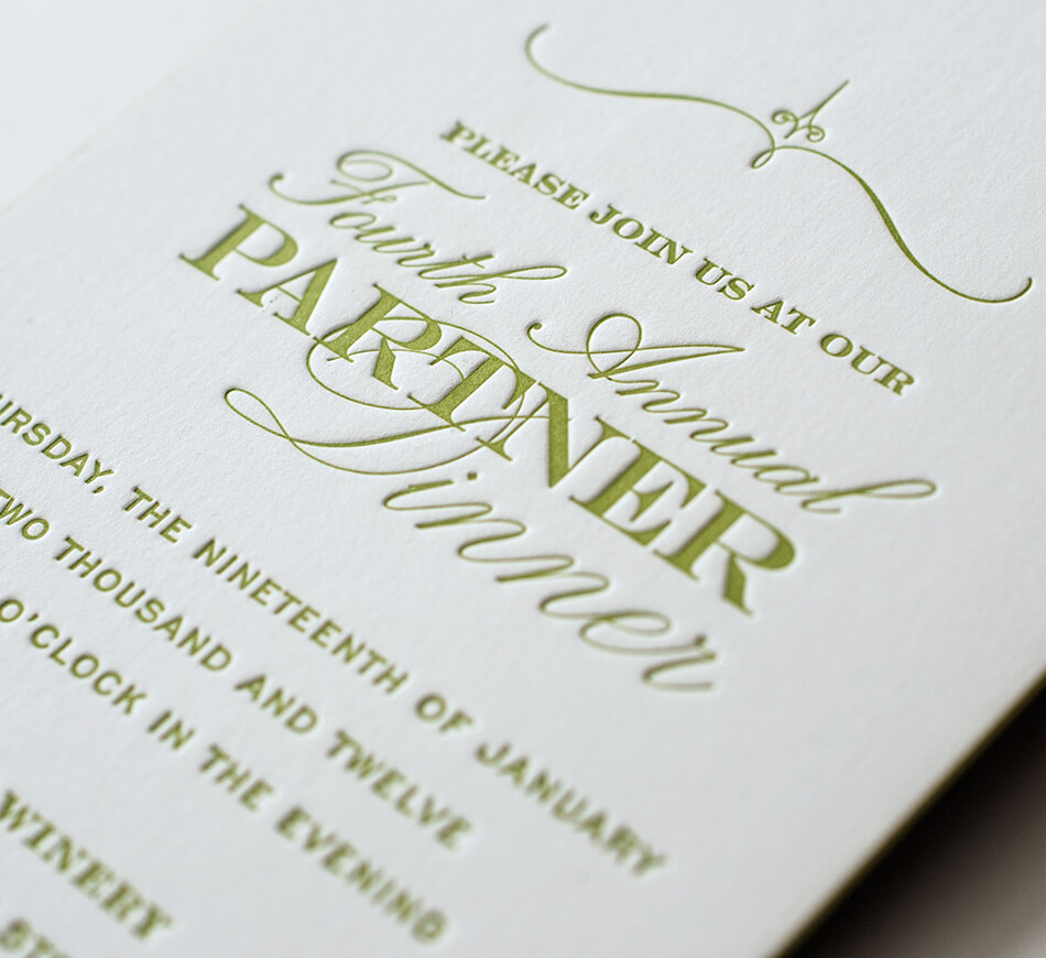 Green letterpress typography