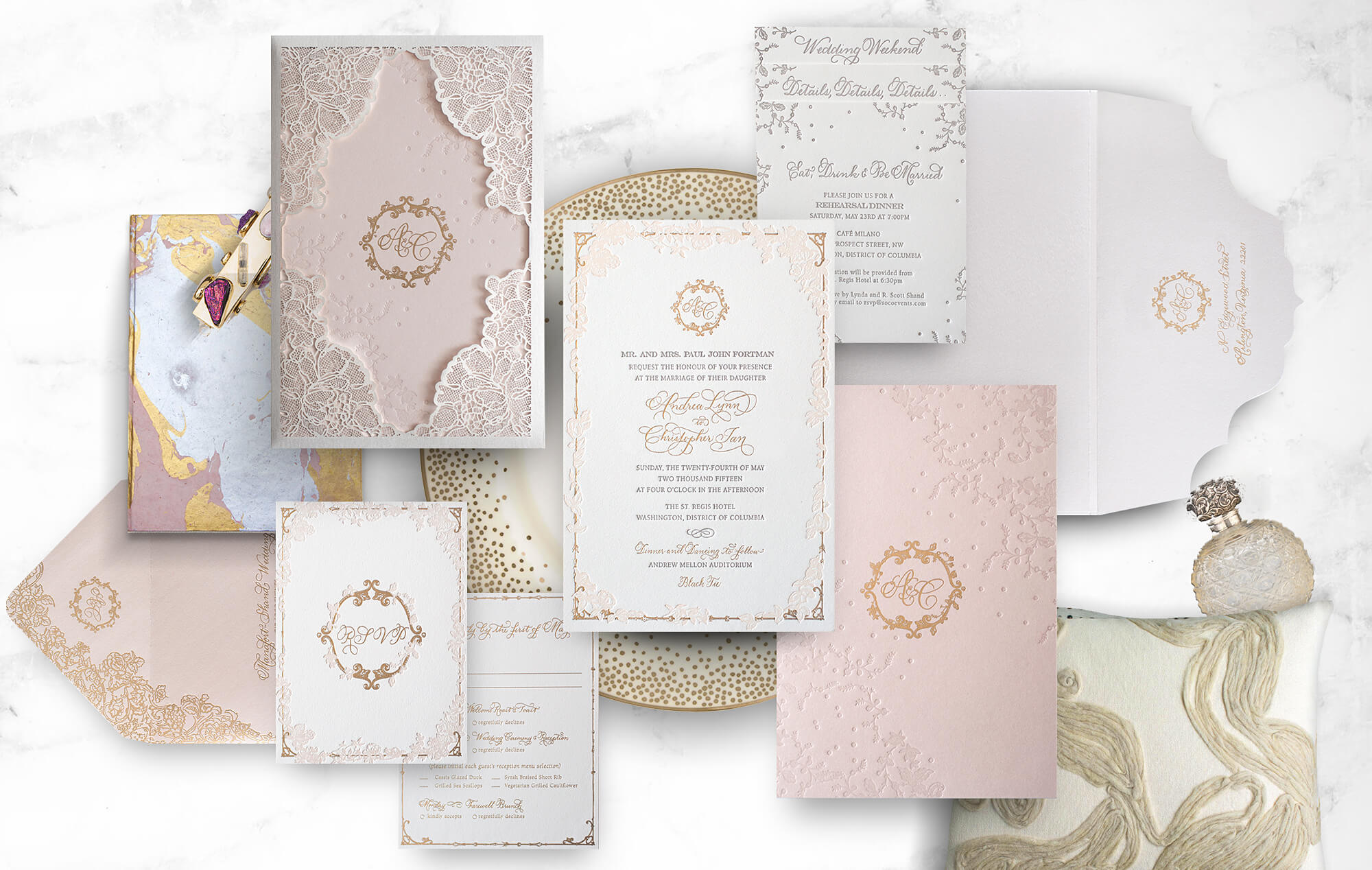 Laser cut lace wedding invitation in blush, champagne and gold
