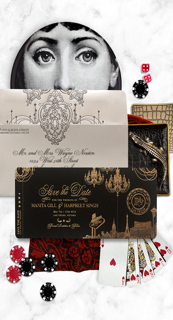Las Vegas boarding pass save the date in gold foil