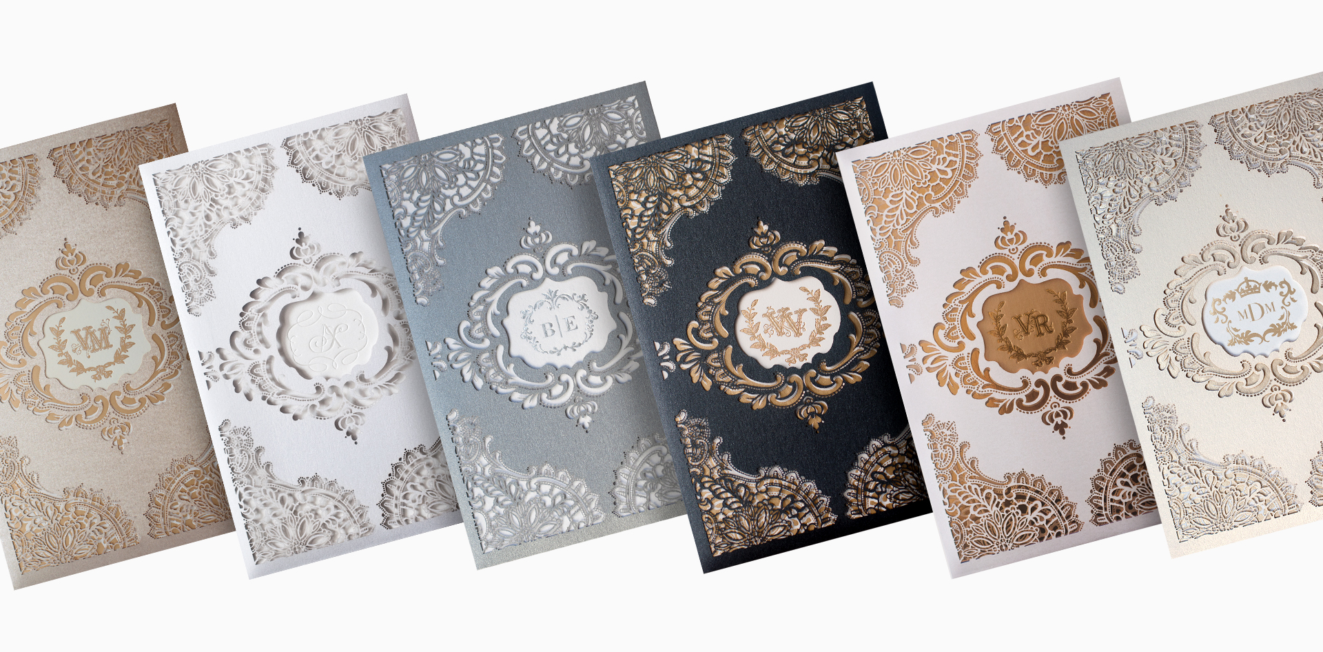 Laser cut lace wedding invitations in multiple colors