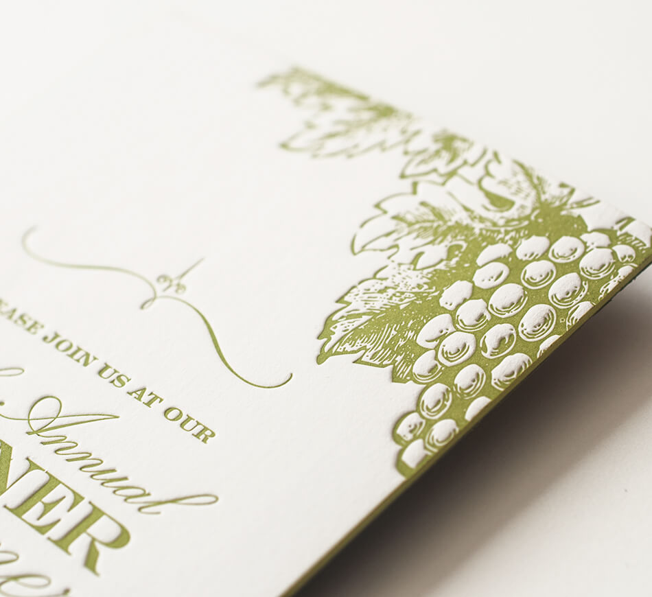 Letterpress green grapes and edge painting