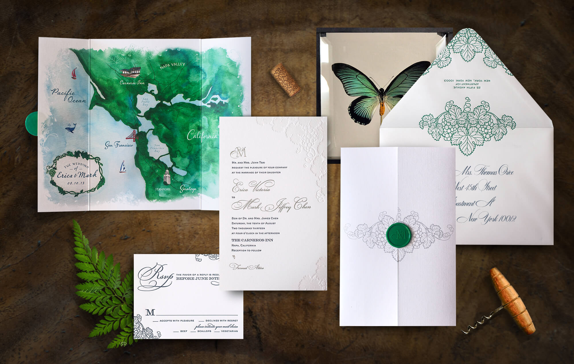 Napa Valley vineyard wedding invitation