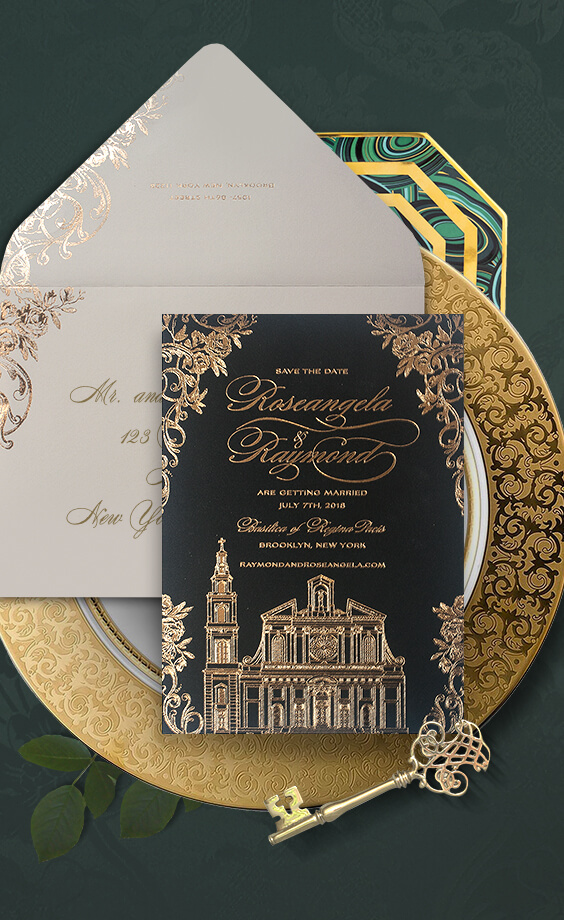 Save the Date with gold foil
