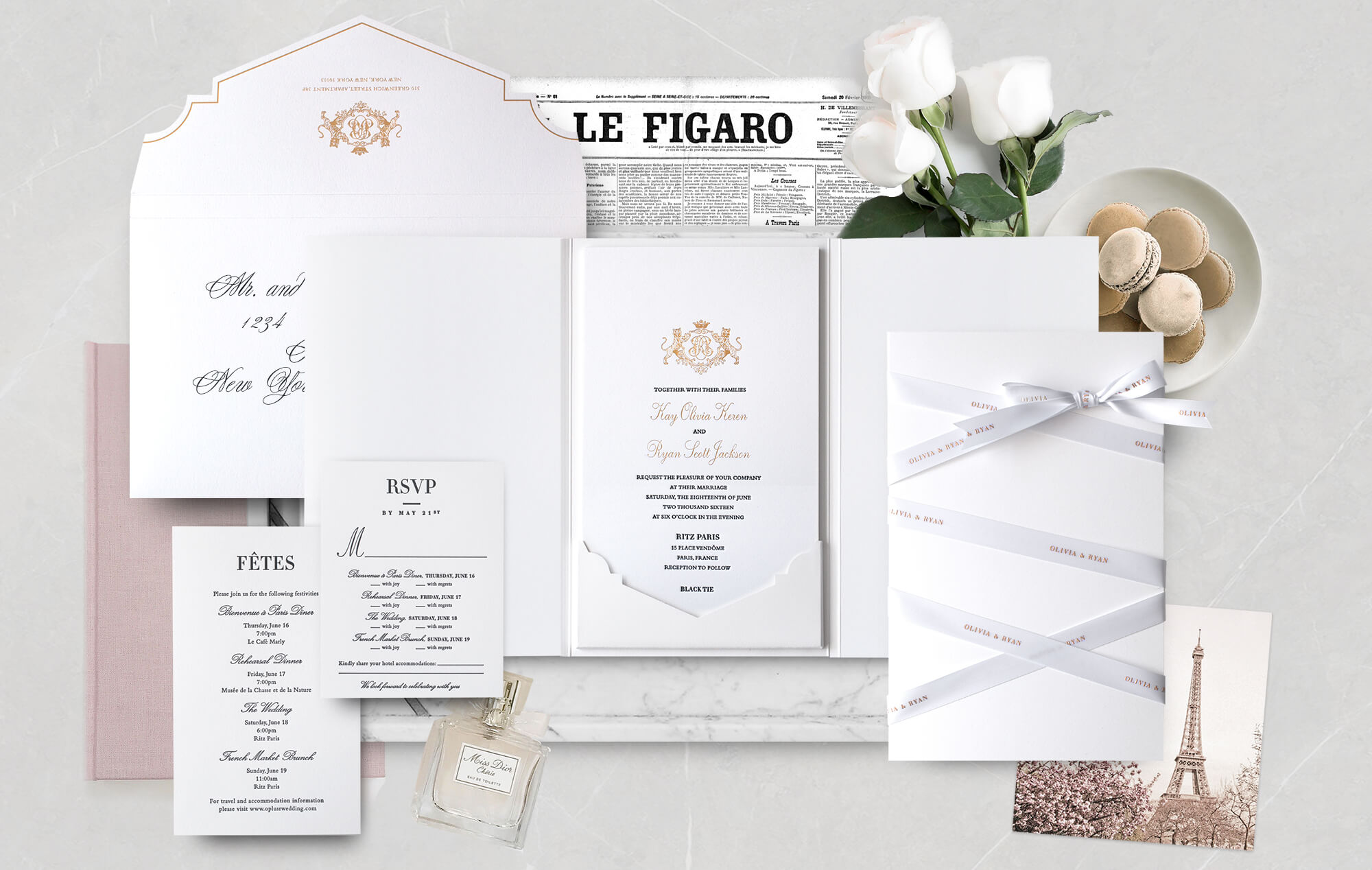 Ritz Paris luxury wedding invitation