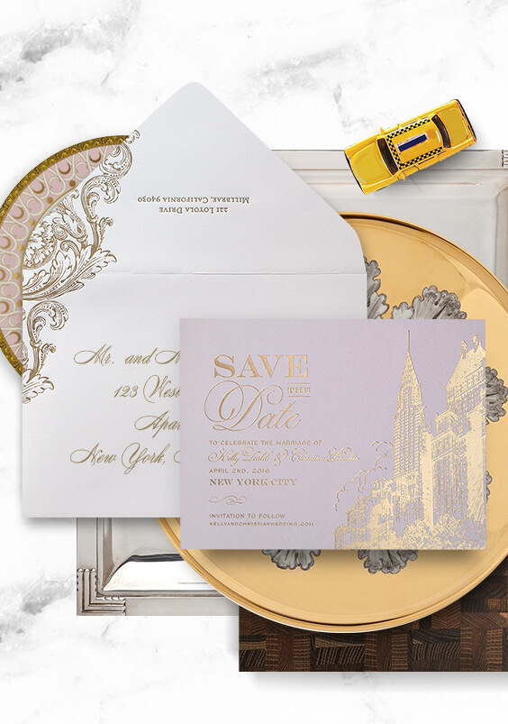 Pink and gold New York City skyline save the date