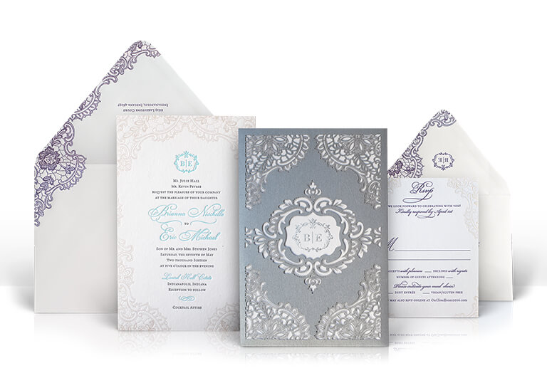 Silver lace laser cut wedding invitation