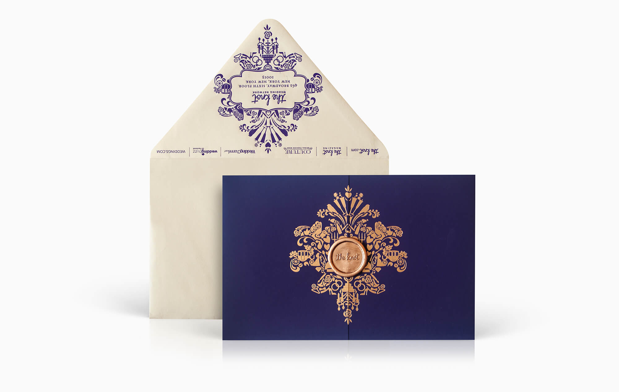 Purple and gold corporate event invitation
