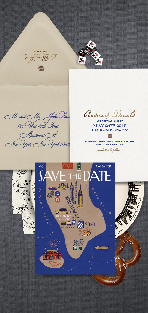 The New Yorker inspired save the date