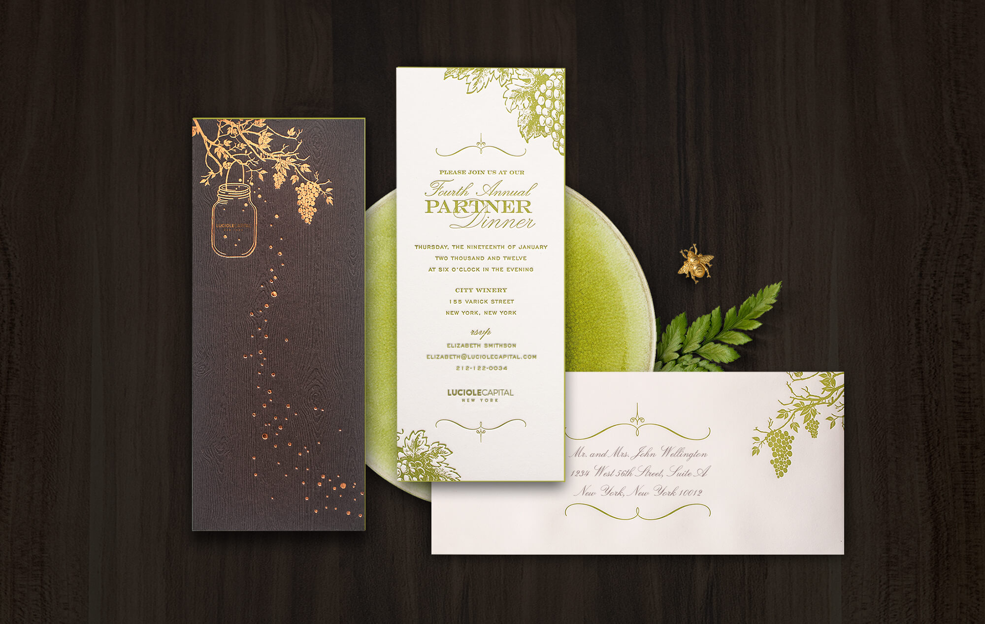 Wine and vineyard inspired corporate even invitation
