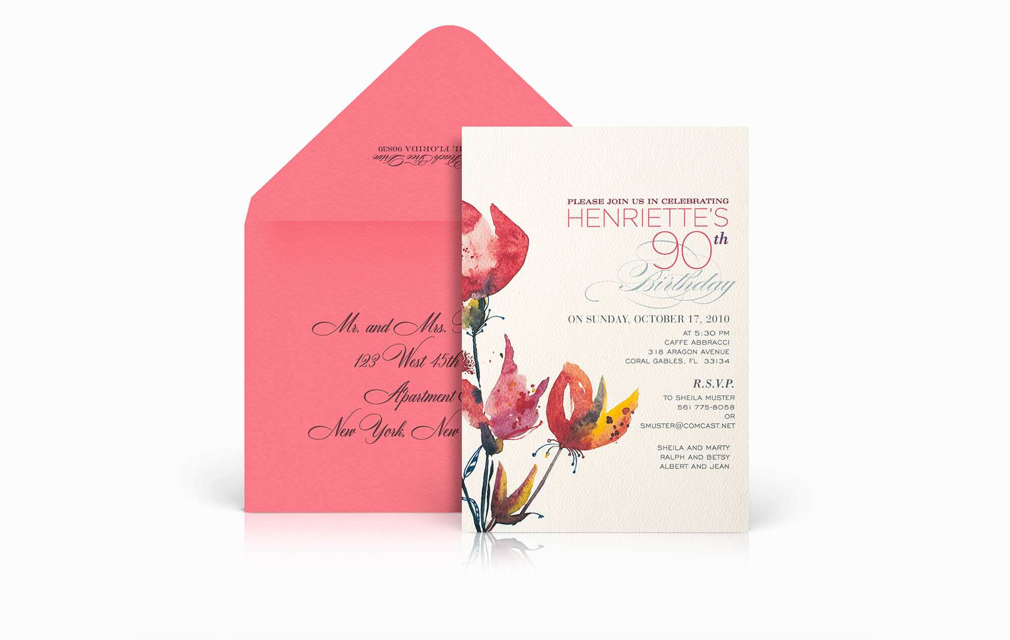 Modern watercolor birthday party invitation