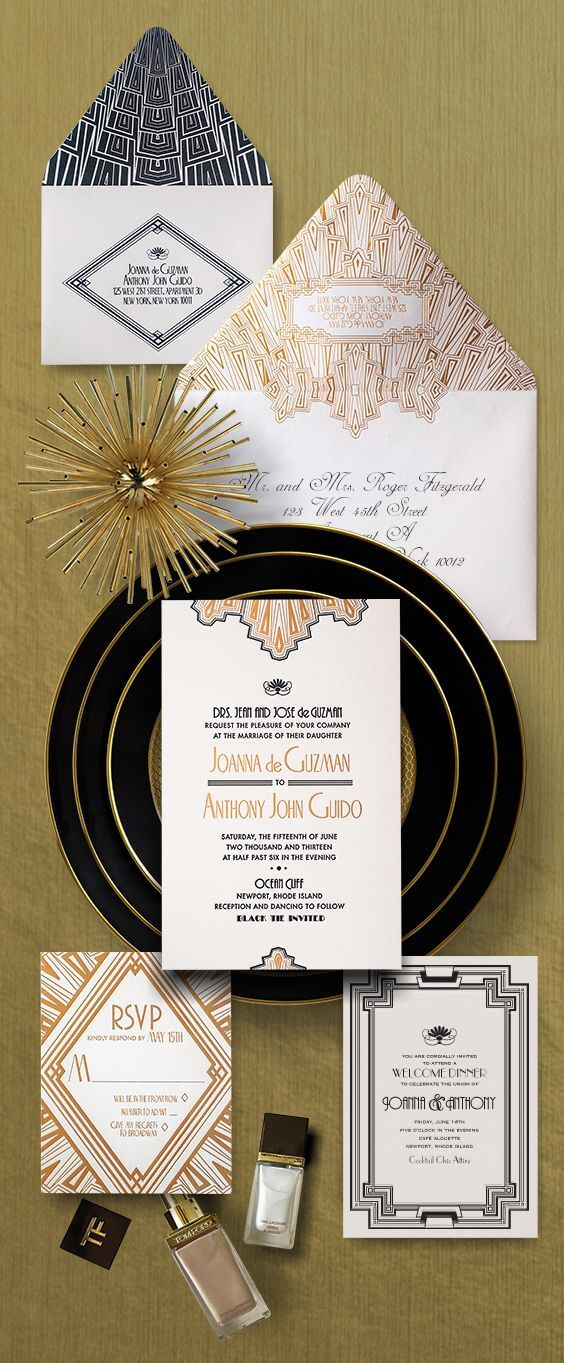 Art Deco black and gold wedding invitation
