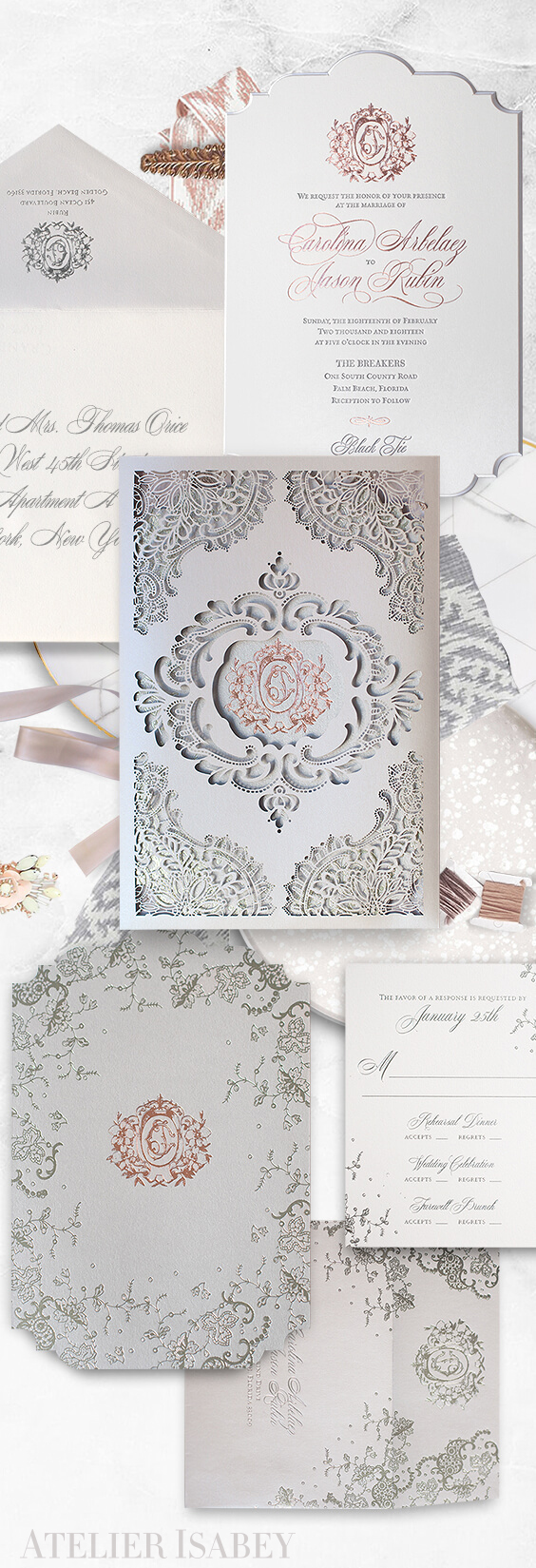 Ornate lace laser cut and rose gold wedding invitation for a wedding at The Breakers | By Atelier Isabey