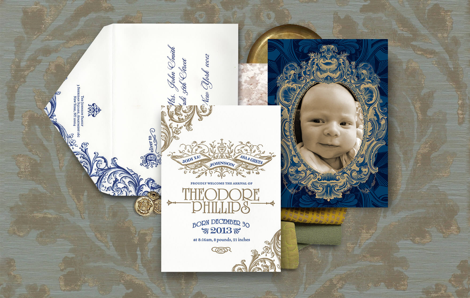 Elegant baby announcement with ornate scrollwork