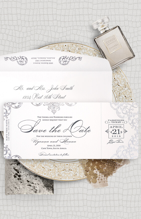 Ornate boarding pass save the date | By Atelier Isabey