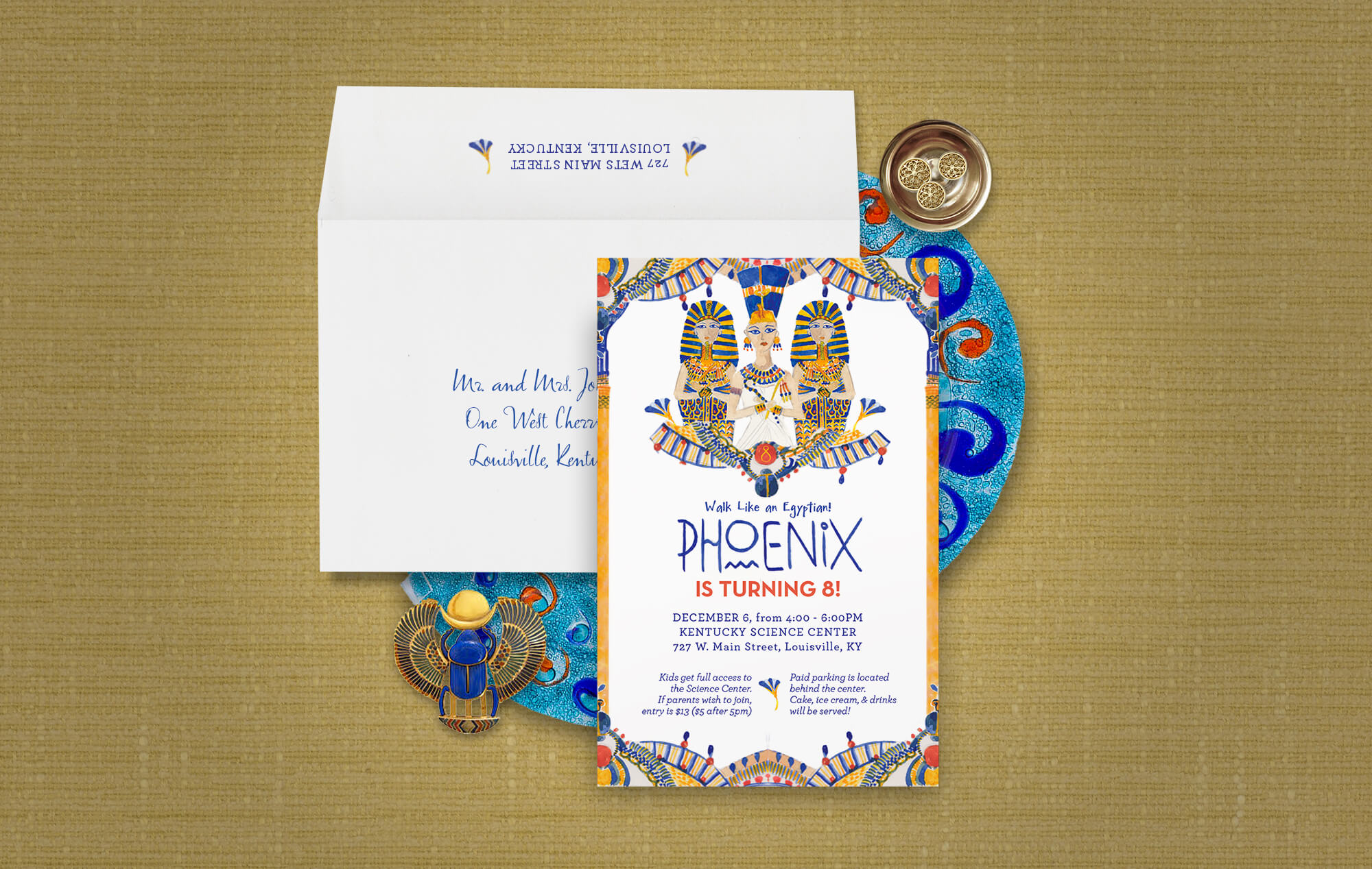Walk like an Egyptian children's birthday party invitation