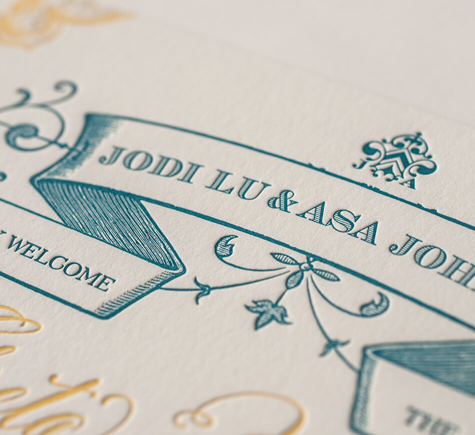 Engraved typography and banner