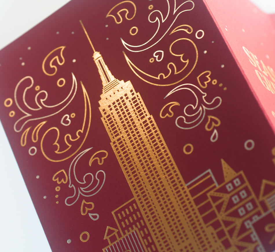 Empire State Building printed in gold foil