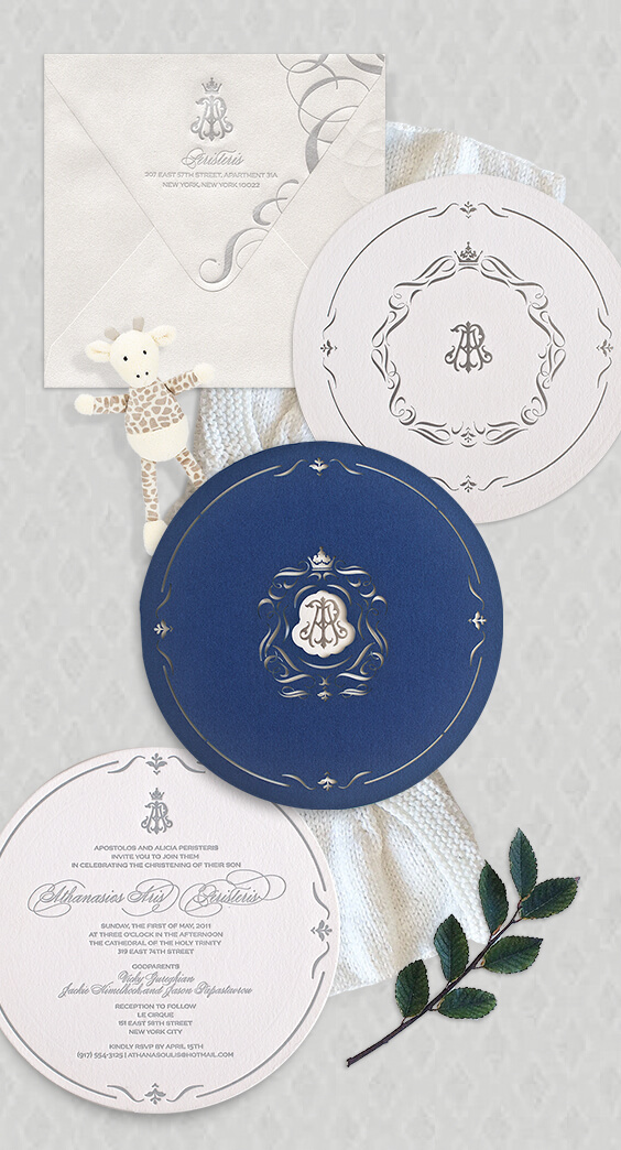 Silver and navy blue laser cut baby christening invitation | By Atelier Isabey