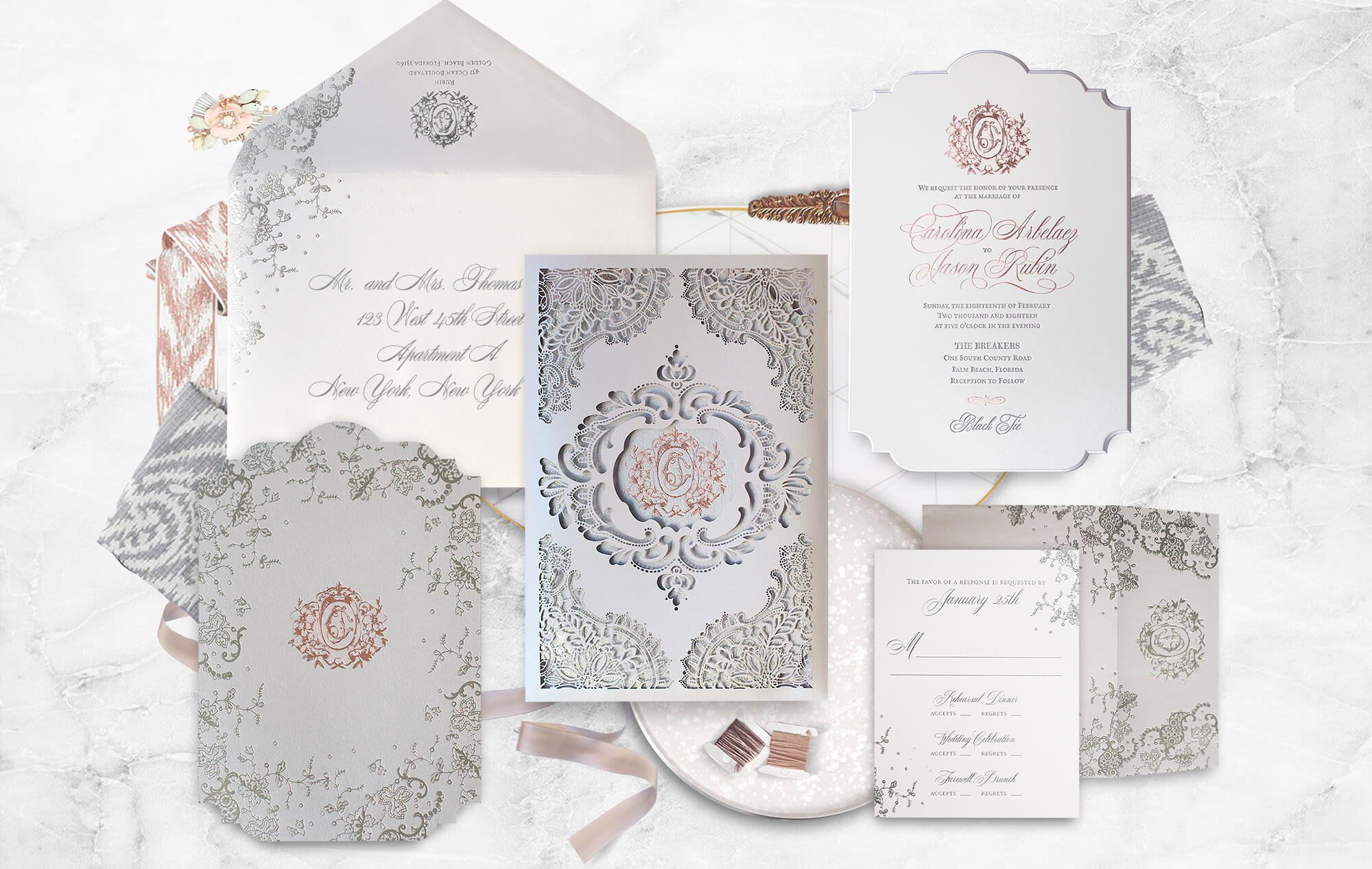 Ornate laser cut lace and rose gold wedding invitation